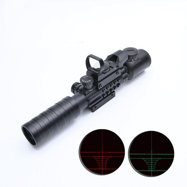B 3-9x32 Óptica Óptica Riflescope Caza Alcance Con Táctico Holográfico Reflejo 4 Retículo Rojo Verde Punto Vista Rifle de Airsoft