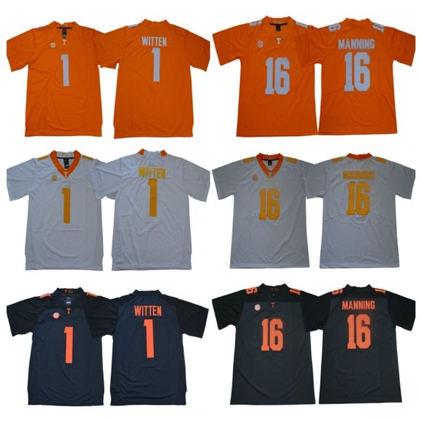 Mens NCAA Tennessee Volunteers Jersey 1 Jason Witten 16 Peyton Manning Stitched College Football Maglie di Alta Qualità Spedizione Gratuita