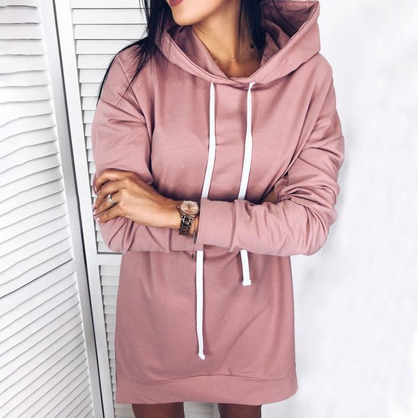 Womens Plus Size Felpa manica lunga Solid Felpe con cappuccio Pullover Casual Top Autunno Inverno Style Long Hoody Outwear Tops