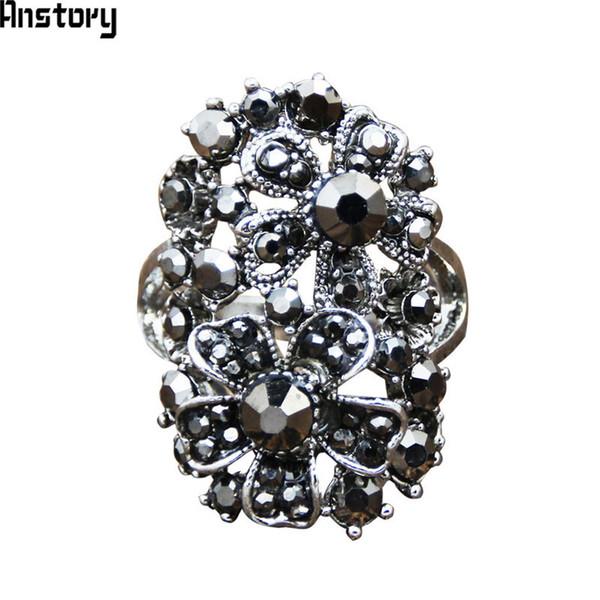 Günstige Vintage Große Blume Strass Ringe Für Frauen Antikes Silber Überzogene Partei Cluster Ringe Modeschmuck TR660