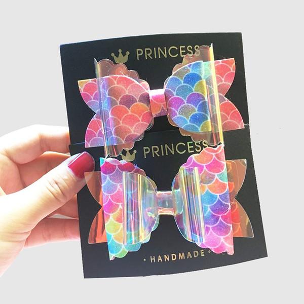 Adorable Mermaid Girls Hair Bows Double Layer Transparent Laser Hair Clips Hairpins Kids Barrettes Headwear Accessories