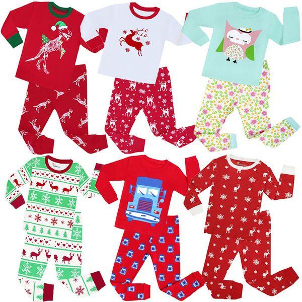 Retail kids christmas outfits pajamas 2pcs suits set(tshirt+pant) baby cartoon dinosaur cotton sleepwear boys girls designer tracksuit