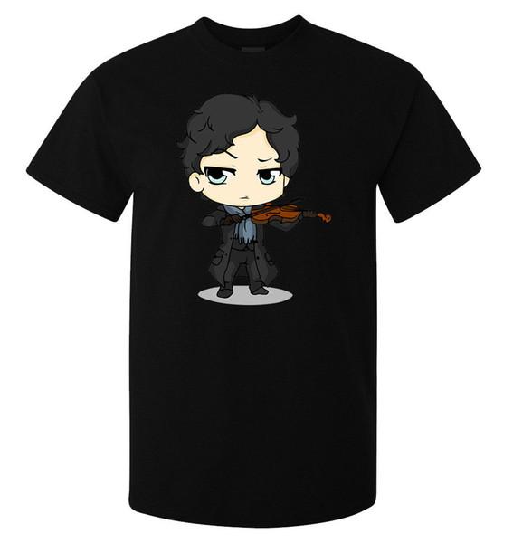 Sherlock Holmes Playing Violin Benedict Cumberbatch men's t shirt black top white black grey red trousers tshirt