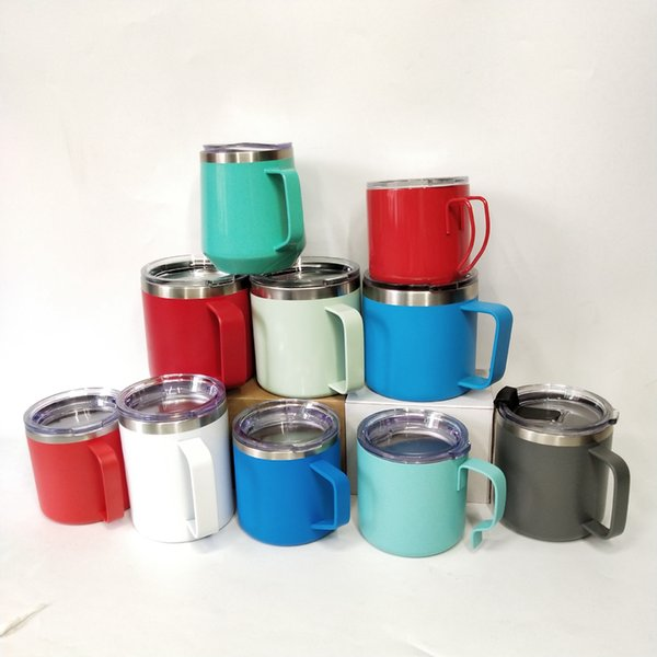304 Stainless Steel Cups Double Wall Glass Wine Tumblers Vacuum Coffee Mug With Handle 350ml-450ml Beer Cup LJJA3563-4