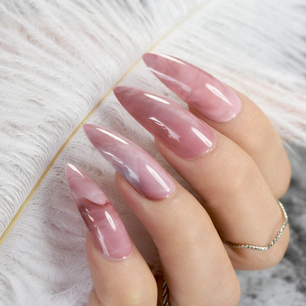 best selling Extra Long False Nails Pre-designed Curved Pink Marble Press On Nails including glue sticker