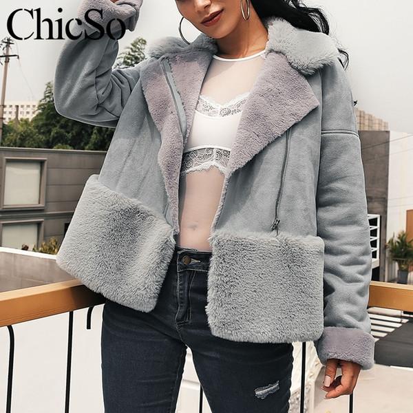 MissyChilli Deri süet taklit kürk ceket Gri sıcak kış kadın coats Casual streetwear uzun kollu kısa ceket kadın ceket