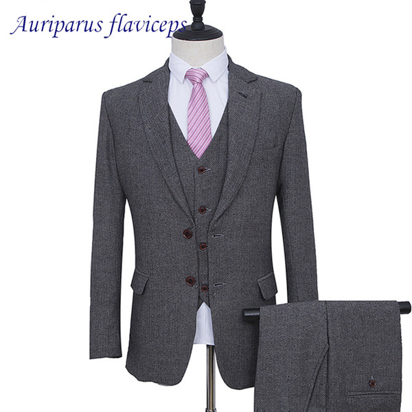 Grey Harringbone Man Suit Tweed Groom Tuxedos Grey Blazer for Groomsman Suit Tailor Wedding Suit(Jacket+pants+vest)