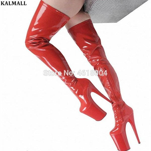KALMALL Moda Seksi Kadınlar Kırmızı Siyah Fetiş Uyluk Yüksek Boots Yarım Ultra Yüksek Topuklar T göster Boots Platformu Pole Dance Shoes Zip