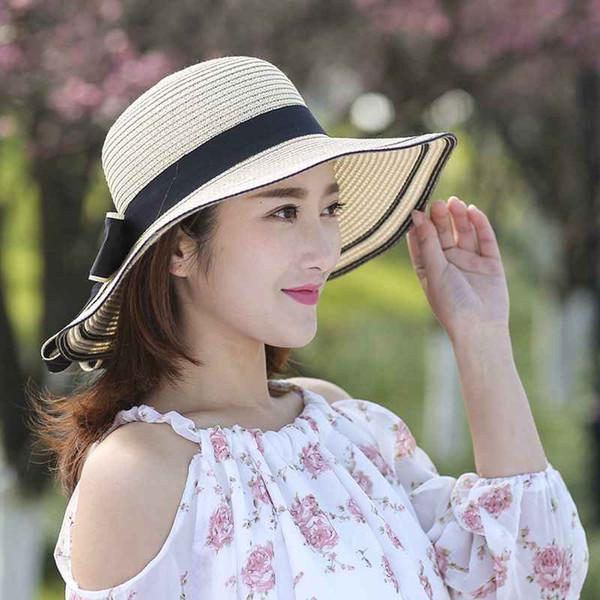 2019 New Korean Version Summer Fashion Casual Small Fresh Visor Foldable Travel Outdoor Sunscreen Straw Hat Women's Cap