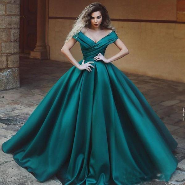 Compre Vestidos De Noche Con Hombros Descubiertos De Color Verde Azulado Oscuro 2019 Plisados Satén Hasta El Suelo Vestido De Fiesta Con Cuello En V