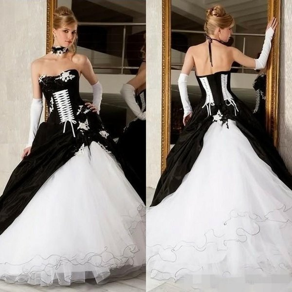 Discount 2020 Newest Black White Wedding Dresses Piping Lace Up Strapless Appliqued Satin Tulle Vintage Country Wedding Bride Ball Gown Custom Made