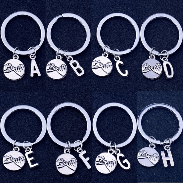 12PC/Lot Pinky Swear Gesture Initial Letter A-Z Charm Keyring Best Friend Lovers Couple Keychain Jewelry Promise Gift Key Chain