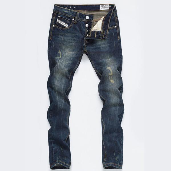 Fashion-hot's new spring autumn mens classic Vintage David Beckhammen jeans High Quanlity brand blue denim designer ripped jeans Size 28-42