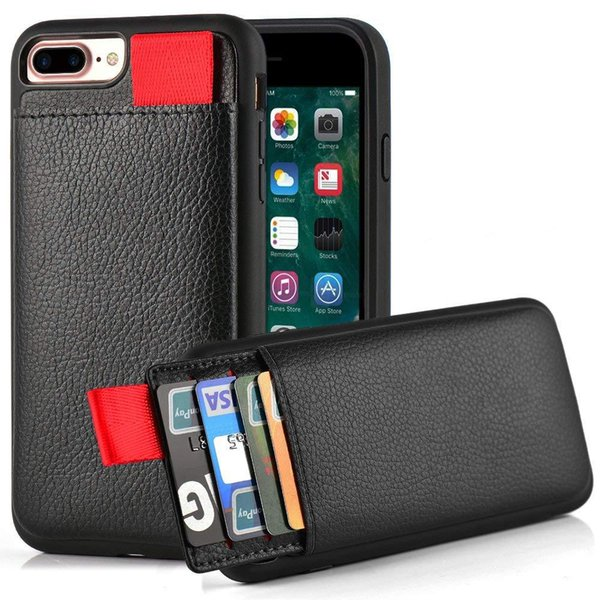 Estojo de couro para iphone xs max xs xr casos de couro da carteira slot para cartão puxar bolsa capa para iphone x 6 6 s 7 8 além de moldura de silicone