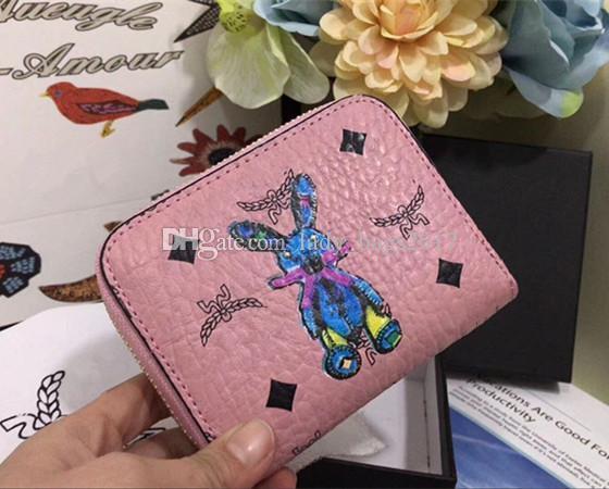 Monedero de carteras de lujo Nuevo Coreano tricolor Cartera de conejo 3D Carteras de diseñador Nueva Marca Cartera de cuero Moda Hombres mujeres Monedero