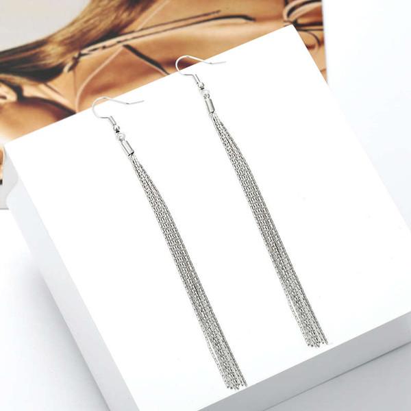 Orecchini nappa per le donne Orecchini pendenti in argento a catena lunga colore elegante Elegante orecchini pendenti moda elegante all'ingrosso