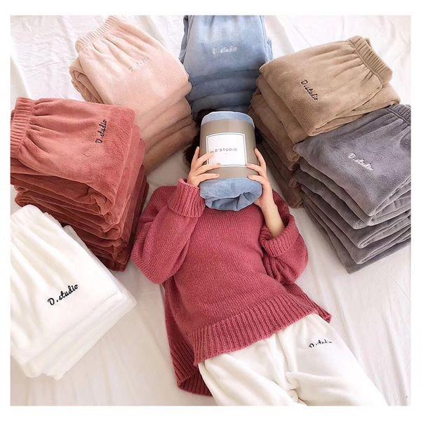 New fairy warm pants elastic waist beam foot Japanese cotton coral velvet home essential casual pants pajama sleep bottoms