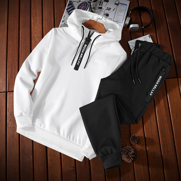 Autumn Sweater Fashion Korean Version Of The Solid Color Simple Casual Slim Hooded Turtleneck Sweater Set Two Piece Sports Suit