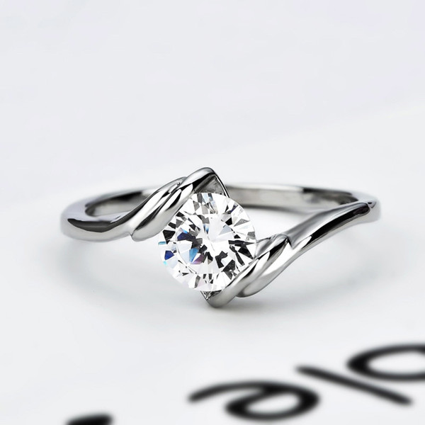 Simple naked diamond zircon ring fashion proposal engagement romantic birthday gift alloy woman personality