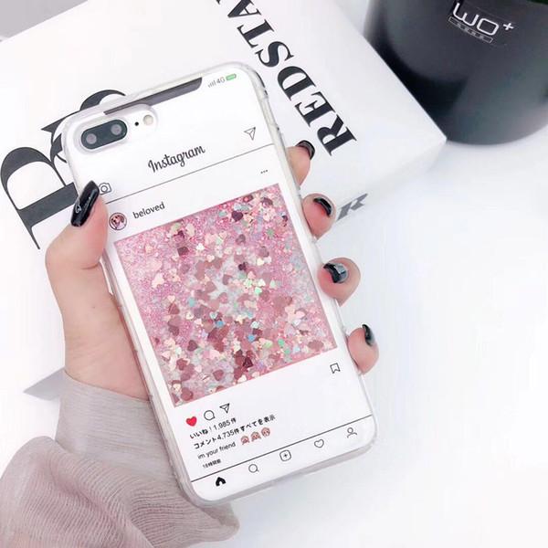 Lujo lentejuelas brillo brillo Quicksand líquido caso para iphone 7 6s 8 plus X XS Max XR lindo botella de perfume cubierta del teléfono de la flor