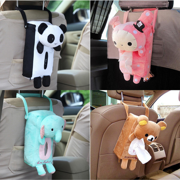 4 Colors Cute Animal Car Back Hanging Tissue Covers Napkin Box Case Paper Towel Holder C19042101