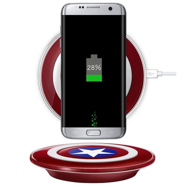 Qi Wireless Charger Pad Fast charging Accesorios Captain America Shield Charging Pad Travel Portable Charger For iPhone X XS XR Samsung LG
