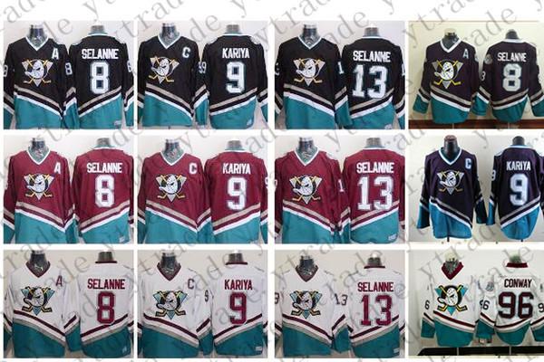 Vintage Anaheim Mighty Ducks Hockey Jerseys 8 Teemu Selanne 9 Paul Kariya 13 Selanne 96 Charlie Conway Retro CCM Jersey White Black Purple