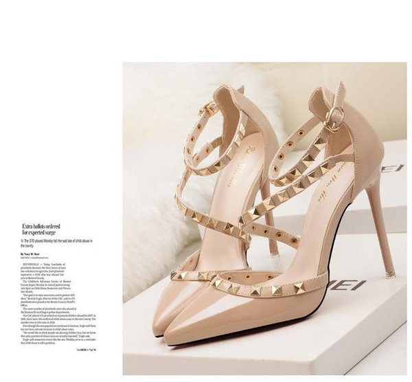 New fetish red high heels women shoes wedding shoes Rivet mary jane pumps escarpins femme ladies lolita gladiator sandals women valentine