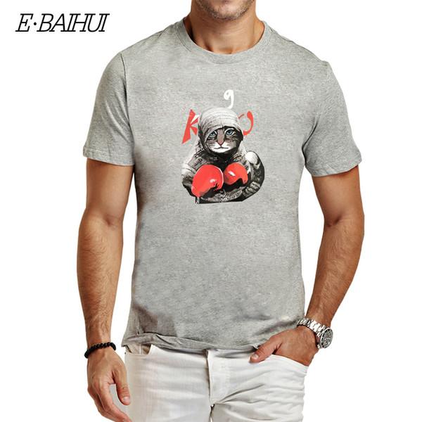 2019 новая мода кунг-фу кошка печати футболки мужчины 100% хлопок короткие рукава повседневная мужская футболка Хабар футболки мужчины топы тис т-01