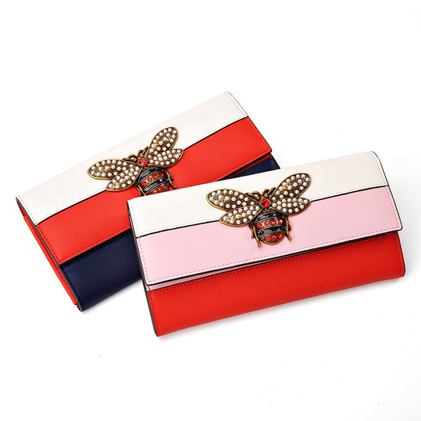 2019 Women Designer Genuine Leather Wallet Famous Brands Bee Purse Ladies Long Leather Wallet Luxury Female Tri-color Bag
