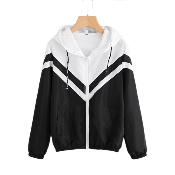 two tone hooded zip up jacket women spring autumn casual color block clothing female black and white sporty coat