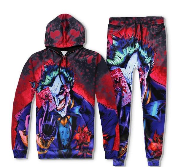 Hommes et femmes Deux pièces Survêtement impression 3D Sweats à capuche Pull à manches longues Pantalons simple Survêtements Ensembles