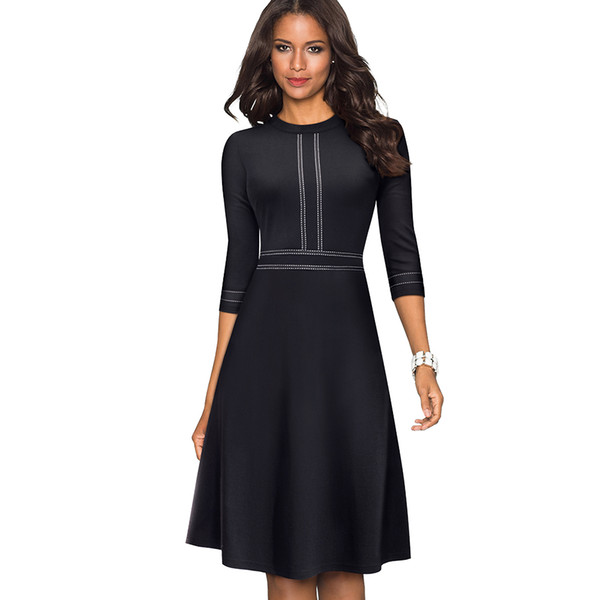 Stylish Ribbons Fit and Flare Wear to Work Women Office Skater Dress Classic Solid Color Prom Business Dress EA135