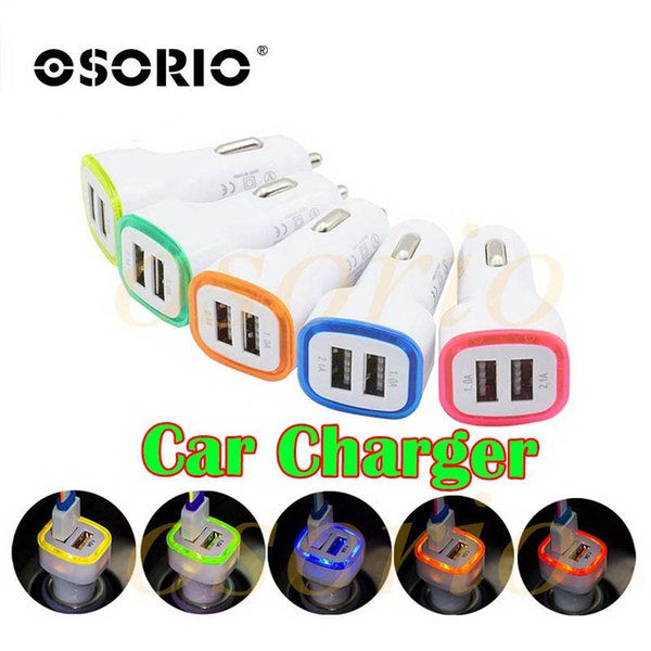 5V 2.1A Dual USB Ports Led Light Car Charger Adapter Universal Charing Adapter for iphone Samsung S7 HTC LG Cell phone
