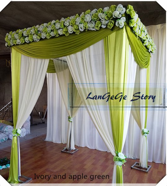 free shipping Ivory backdrop with apple green drapes include Square stand polefour corners stainless steel tube pipe