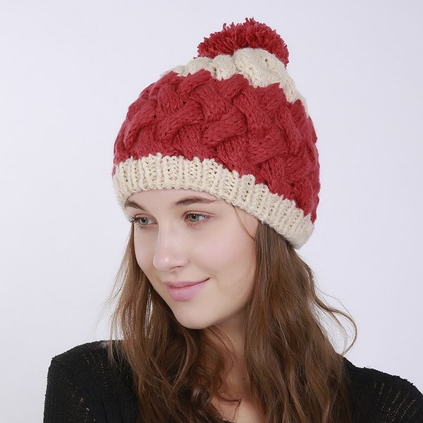 Autumn and Winter Hats for Women Two Color Patchwork Knitted Pure Hand Crochet Warm Women's Winter Hat with Big Hairball bonnet
