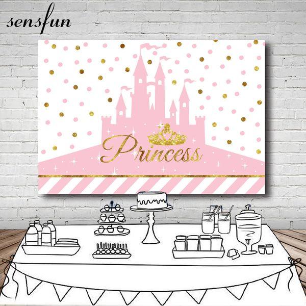 Sensfun Gold Glitter Crown Princess Pink Castle Fondotinta Dots Girls Birthday Party Baby Shower Fotografia Sfondi Vinile