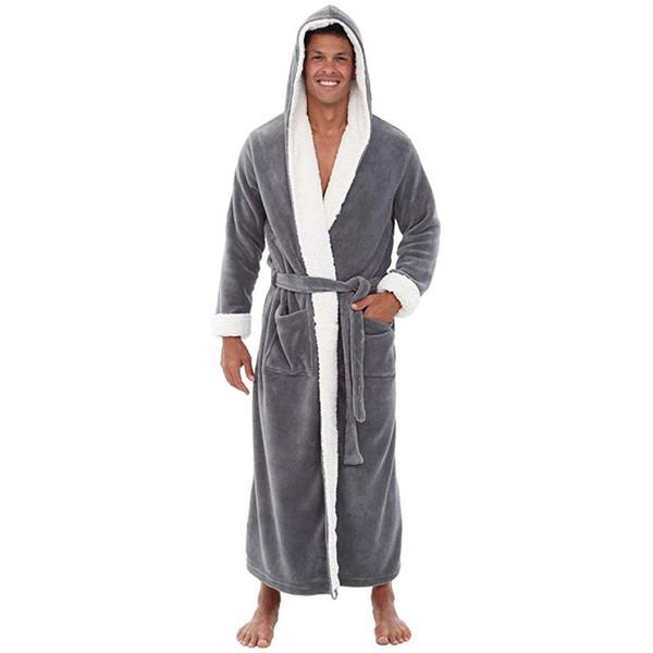 homens roupão Inverno sleepwear com capuz de pelúcia homens robe longo banho peignoir homme bata mens kimono d91106