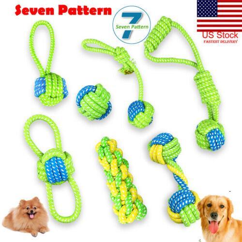 Cuerda de EE.UU. 7PC trenza de algodón juguete interactivo del animal doméstico para el perro Chew Bite formación desempeñan