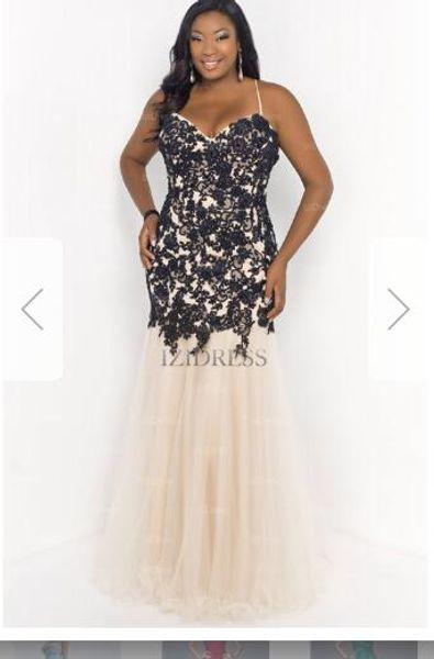 Trumpet/Mermaid Sweetheart Spaghetti Straps Floor-length Lace Plus Size Prom Dressw104