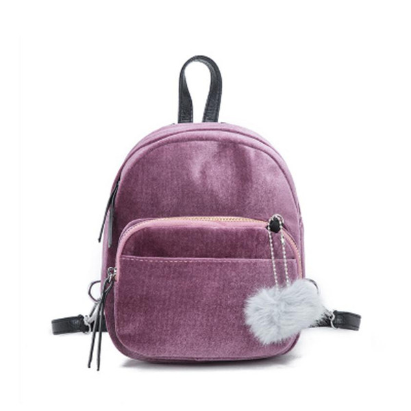 Fashion mini hair ball pendant mini shoulder bag shoulder bag solid female girl travel Mochilas Femininas #40