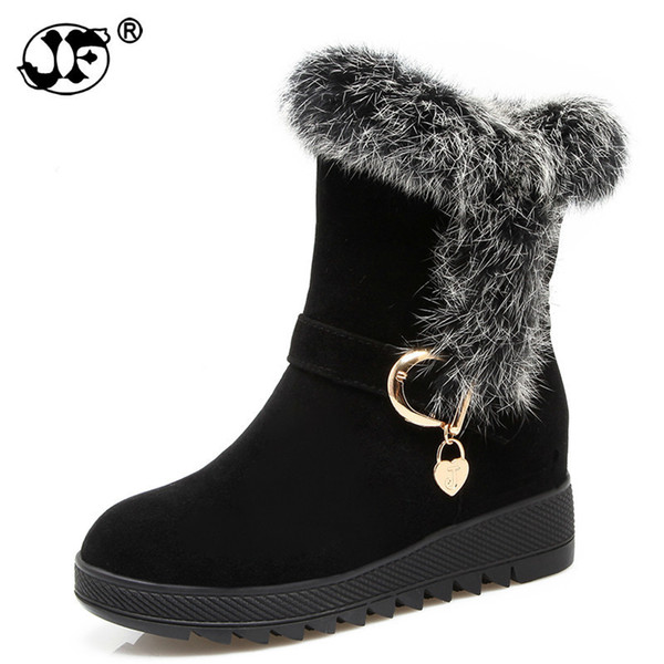 Winter 2018 Fur Natural Rabbit Hair Snow Boots Woman Warm Flat Mid Suede Leather Short Boots For Women 658