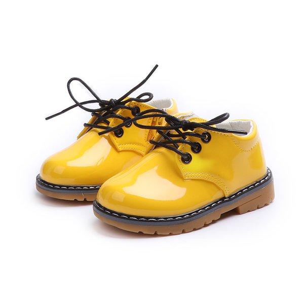 Kids Children Toddler Little Girl Boy Baby Yellow Black Patent Leather Shoes For Teens Girls Boys School Causal Martin Shoes