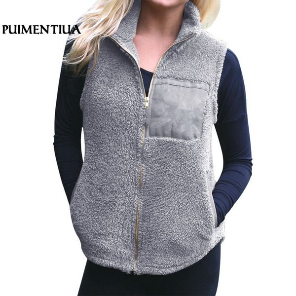 Puimentiua 2019 Autumn Winter Faux Fur Women Vest Casual Warm Zip Up Pockets Waistcoat Female Fleece Veat Coat Outwear Fashion
