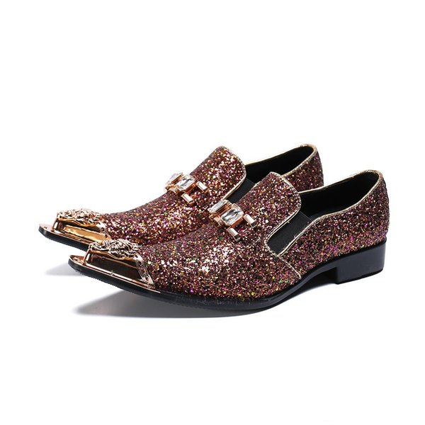 Men Party Wedding Handmade Loafers Glitter Men Dress male paty prom shoes Smoking Slippers Men's Flats Sequins Shoes
