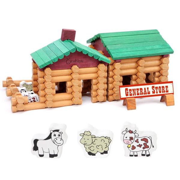90pcs/set Wooden Building Blocks Creative Forest Farm Houses Space Educational Brick Blocks Logs Wooden Puzzle Toys Kids Gifts