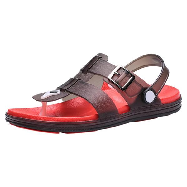 SAGACE Summer Men's Non-Slip Flip Flops Low-Heeled Beach Slippers Students Outdoor Soft Bottom Wild Comfortable Casual Slipper
