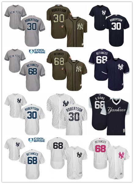 Maglie Majestic Yankees New York New York da uomo personalizzate # 30 David Robertson 68 Dellin Betances Home Nero Grigio Bianco Maglie da baseball