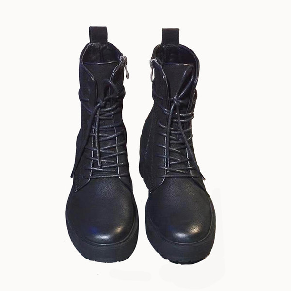 autumn and winter explosions women black brown boots lace up fashion wild locomotive boot size us5-8.5 original packaging