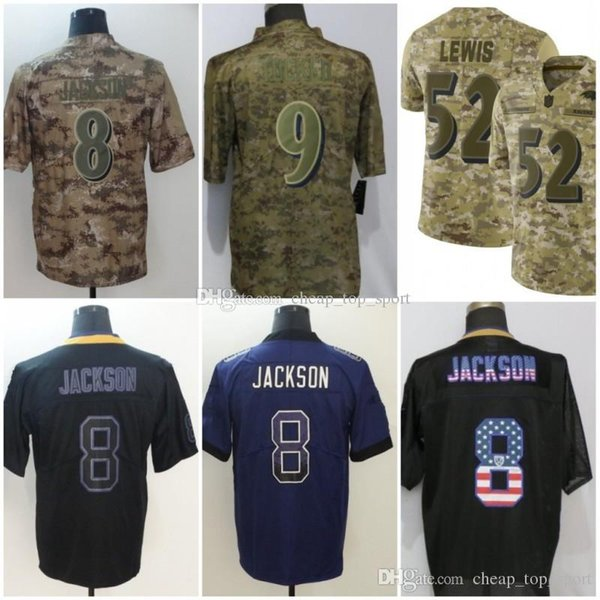 60fcb1b5 2019 Lamar 8 Jackson Baltimore Jerseys Ray 52 Lewis Ravens Justin 9 Tucker  Lights Out Black Rush Drift Camo Salute To Service Olive Limited From ...
